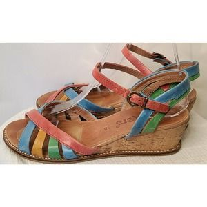 Kickers Rainbow strappy wedge sandals 38